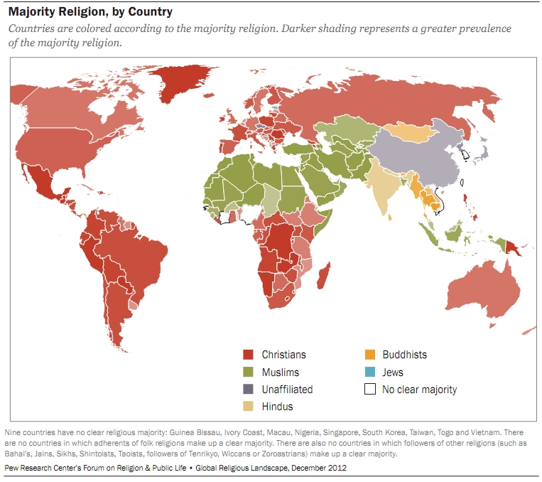 World Religions Composition By Country And Continent